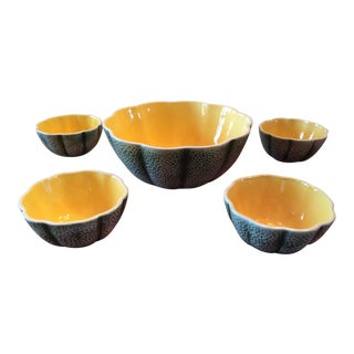 1960s Majolica Cantelope Salad Bowls - Set of 5 For Sale