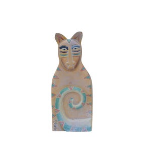 'Whiskers' Large Wooden Cat Sculpture For Sale