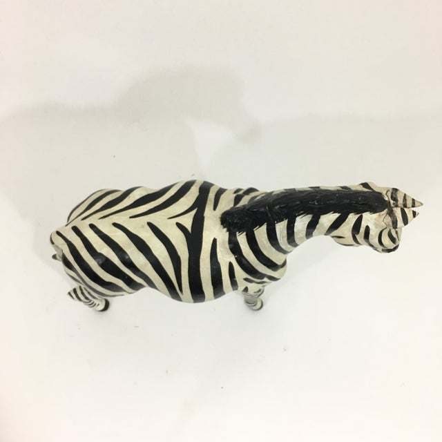 White Hand Painted Leather Zebra Figure For Sale - Image 8 of 10