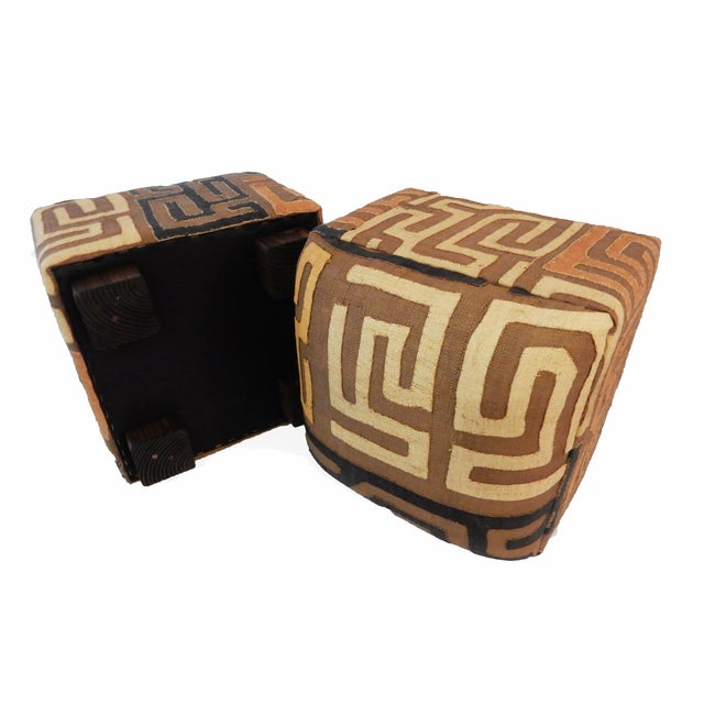 Upholstered Kuba Ottomans - a Pair - Image 6 of 6