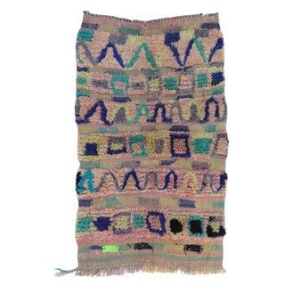 "Vintage Moroccan Pink Boujad Rug-2'10'x4'3"" For Sale"