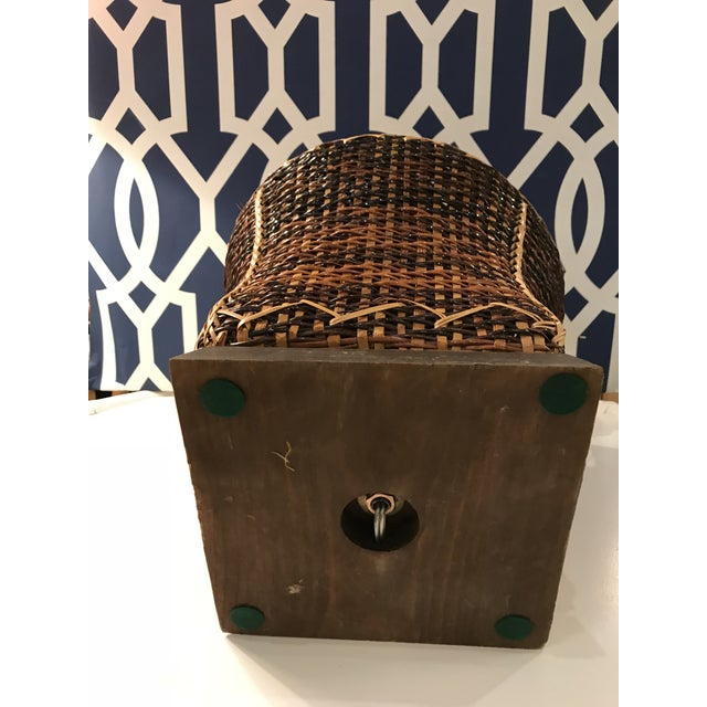 Brass Vintage Rattan Table Lamp For Sale - Image 7 of 8