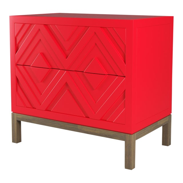 Susana Side Table - Bull's Eye Red, Weathered Gray Oak For Sale