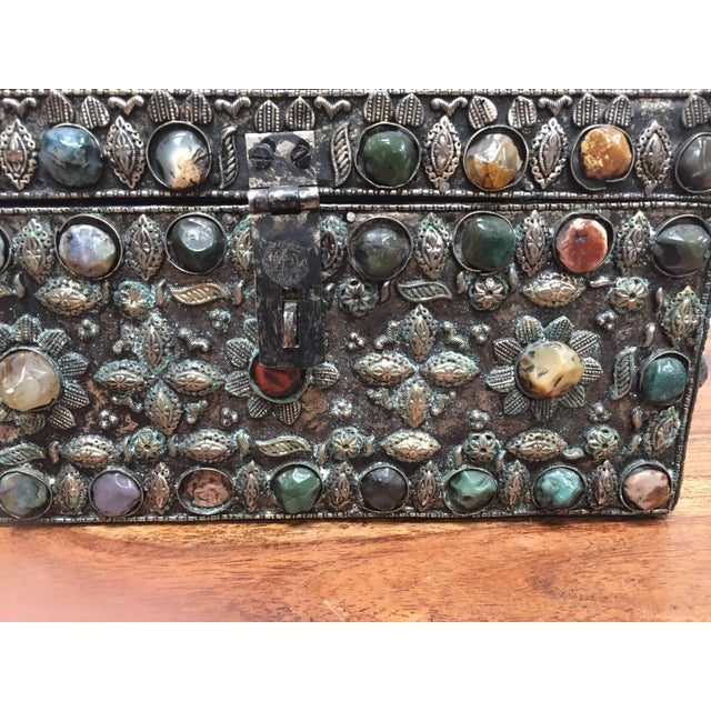 Large Moroccan Wedding Silvered Jewelry Box Inlaid With Semi-Precious Stones For Sale - Image 9 of 13