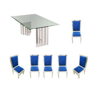 Lucite Skyscraper Style Dining Table With Six Matching Chairs For Sale