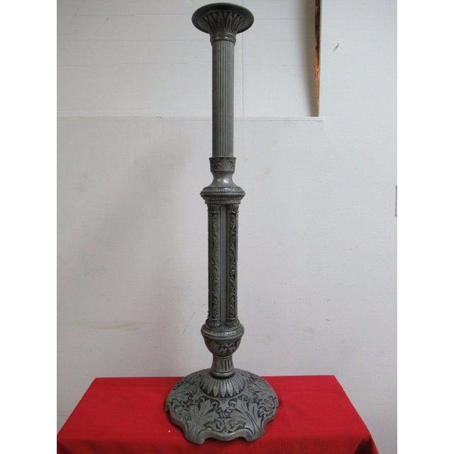 Antique Aluminum Carved Industrial Regency Pedestal Candle Base For Sale - Image 10 of 10