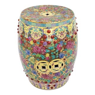 Chinese Famille Rose Ceramic Porcelain Seating Stool - Mid Century Asian Chinoiserie Boho Palm Beach Chic For Sale