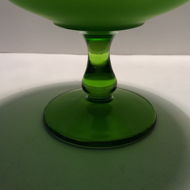1940's Vintage Green Westmorland Green Glass Candy Dish For Sale - Image 9 of 11
