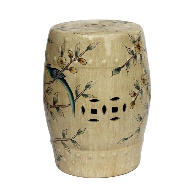 Handmade Beige Porcelain Bird Flower Round Stool Ottoman - Image 2 of 7