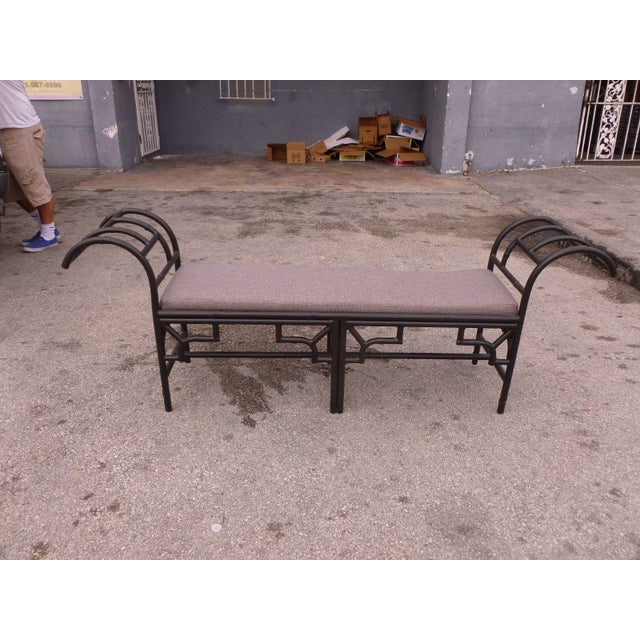 1990's Vintage Post Modern Chinese Chippendale Metal Bench For Sale - Image 12 of 12