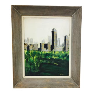 Framed & Signed City Scape Oil on Canvas Painting For Sale