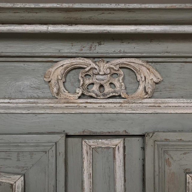 Ceramic 18th Century Country French Painted Provincial Buffet a Deux Corps For Sale - Image 7 of 13