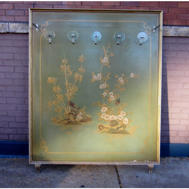 Art Deco 1920s Vintage Art Deco Chinoiserie Italian Atelier Green Painted Hall Tree Coat Rack For Sale - Image 3 of 13