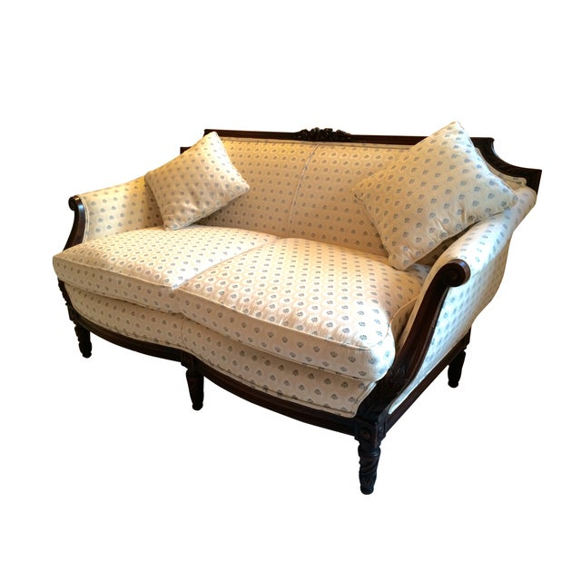 Vintage Carved Cream & Blue Satin Settee - Image 3 of 7