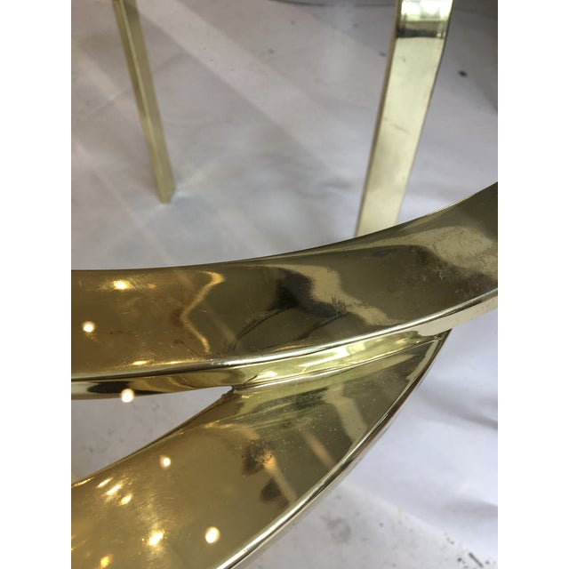 Interlocking Brass and Glass Round Cocktail Table For Sale - Image 9 of 11
