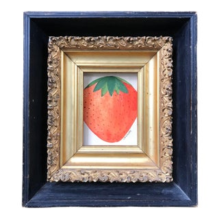 1940s Vintage Still Life with Strawberry Painting For Sale