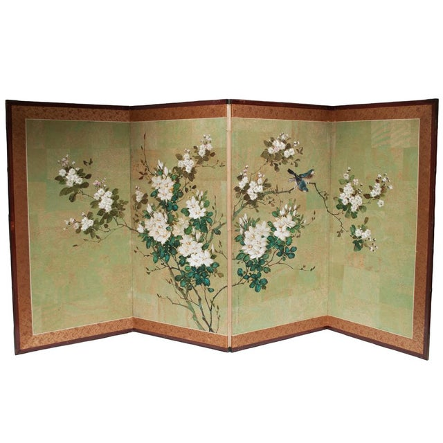 Early 20th Century Japanese Four Panel Byobu Screen For Sale - Image 9 of 13