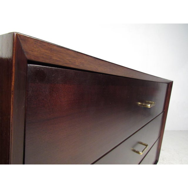 Metal Pair of Mid-Century Modern Mahogany Bachelor's Chests For Sale - Image 7 of 9