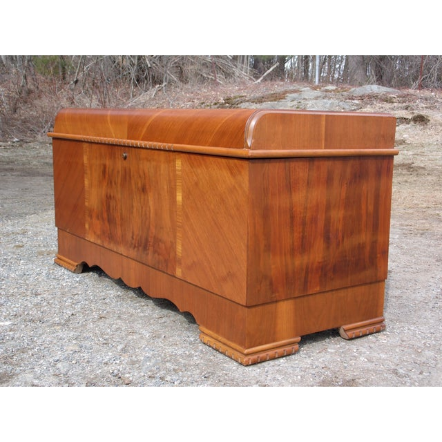 Antique LANE Art Deco Waterfall Cedar Hope Chest Storage Trunk For Sale - Image 5 of 13
