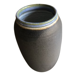 Vintage 1980s Signed Hand Thrown Ceramic Vase For Sale