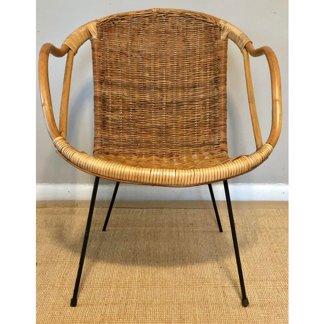 Mid Century Italian Rattan & Sculpted Bamboo Boho Chic Chair For Sale - Image 12 of 12