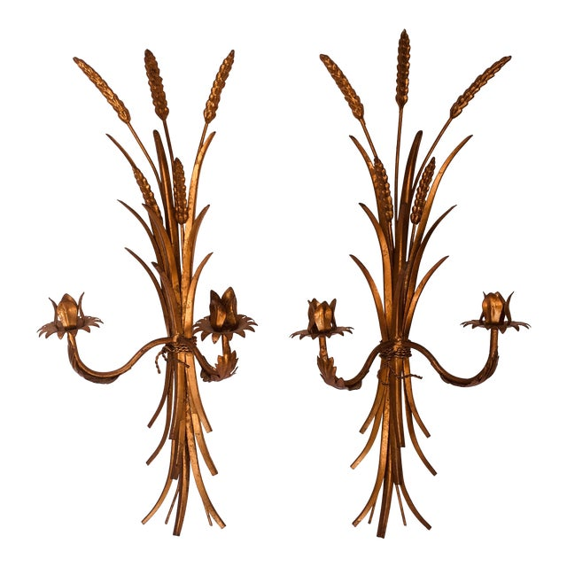1960s Hollywood Regency Gold Iron Sconces - a Pair For Sale