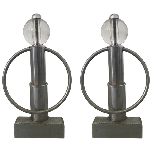 Pair of Art Deco Chrome and Glass Andirons For Sale In Miami - Image 6 of 6