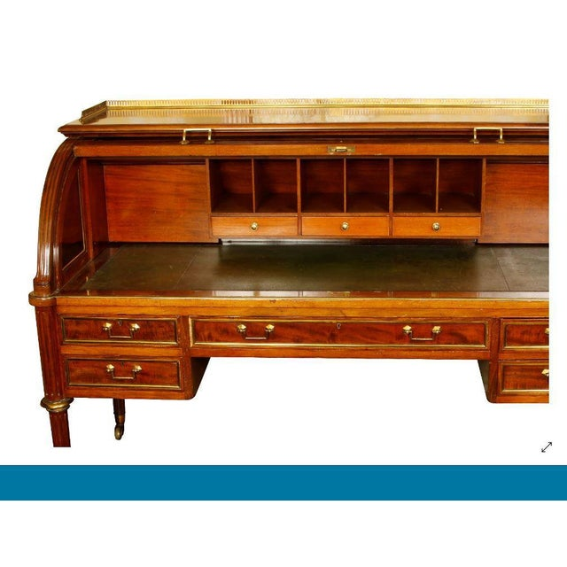 Hobbs & Co Louis XVI Style Mahogany and Brass Roll Top Desk For Sale - Image 4 of 5