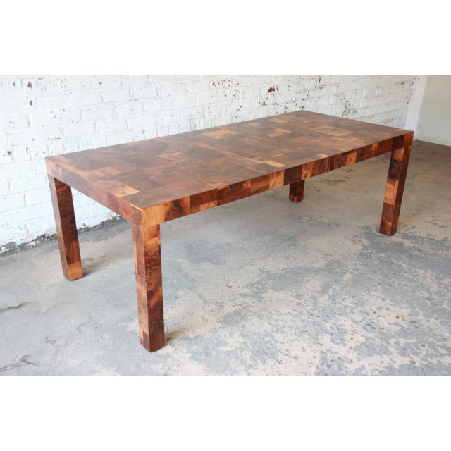 Contemporary Paul Evans for Directional Patchwork Burl Wood Parsons Extension Dining Table For Sale - Image 3 of 13