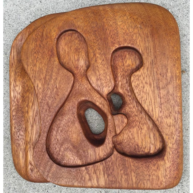 1950s-1960s Vintage Freeform Carved Wood Panel Wall Hanging Plaque For Sale In Saint Louis - Image 6 of 10