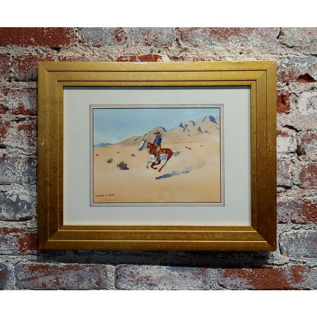 "Blue Leonard Reedy ""Cowboy Desert Rider"" Painting For Sale - Image 8 of 8"