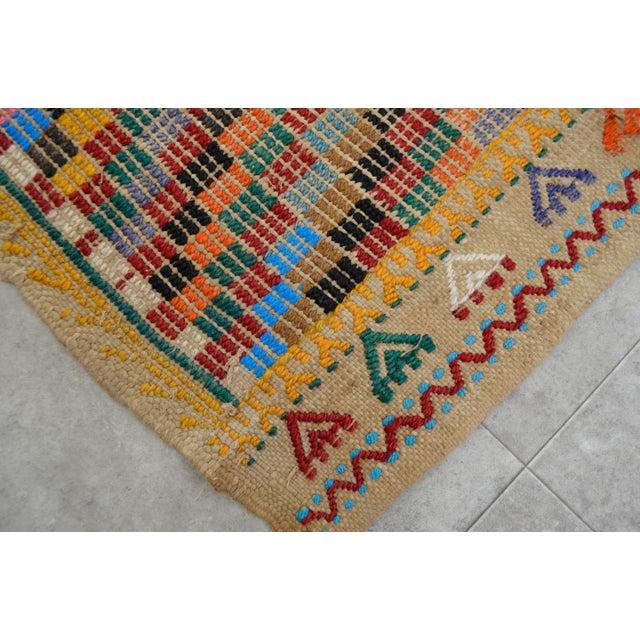 "Turkish Oushak Handmade Cotton Kilim Runner Rug - 3'2"" x 12'4"" - Image 10 of 10"