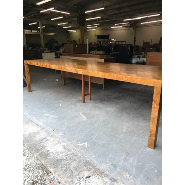 Milo Baughman for Directional Burl Wood Parsons Dining Table with Two Boards - Image 8 of 10