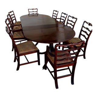 18th Century Vintage Triple Pedestal Table & Chairs Dining Set For Sale