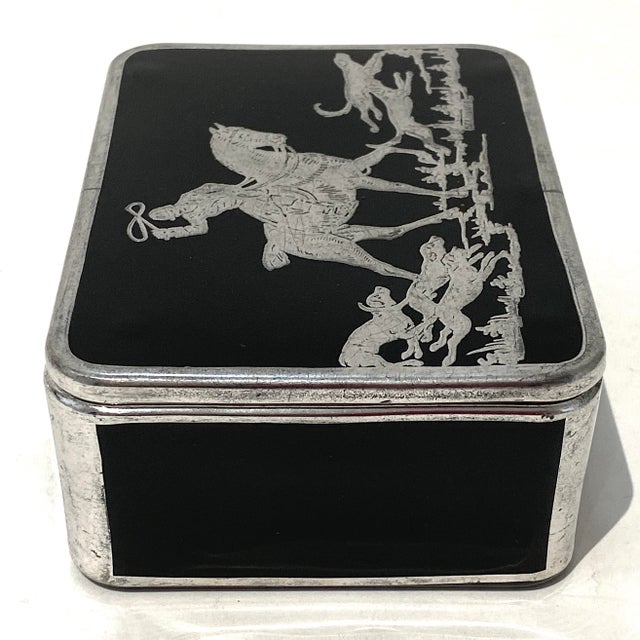 Art Deco Art Deco English Sterling Silver Black Glass Box Fox Hunt For Sale - Image 3 of 13