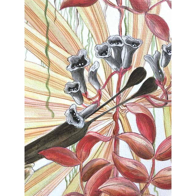 """2020s """"Strictly for the Birds"""" Tropical Chinoiserie Painting by Allison Cosmos For Sale - Image 5 of 6"""