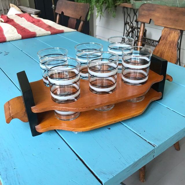 Vintage Cocktail Glasses & Wood Holder For Sale - Image 5 of 5