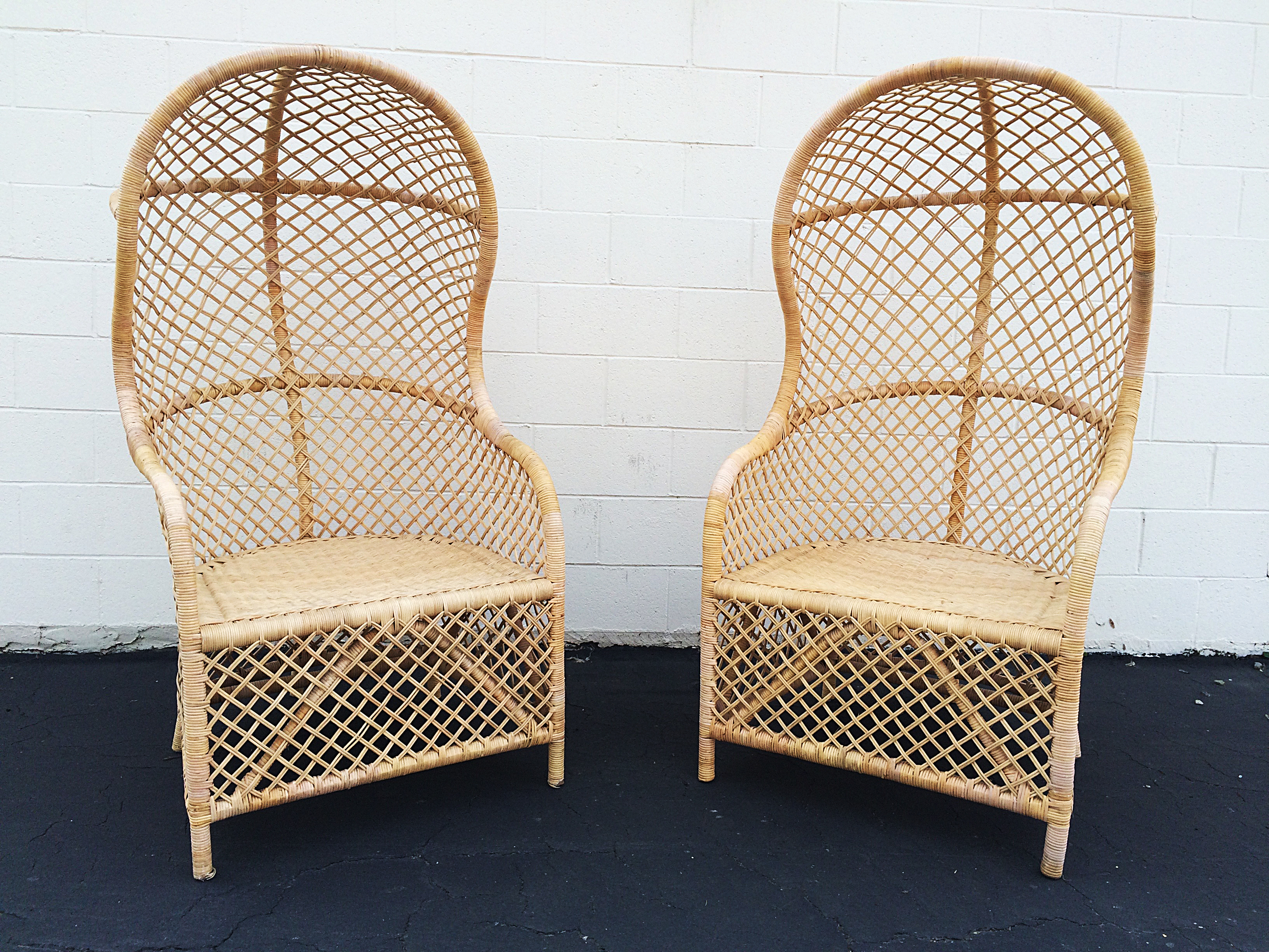 Wonderful Rattan Canopy Chairs   A Pair   Image 2 Of 5