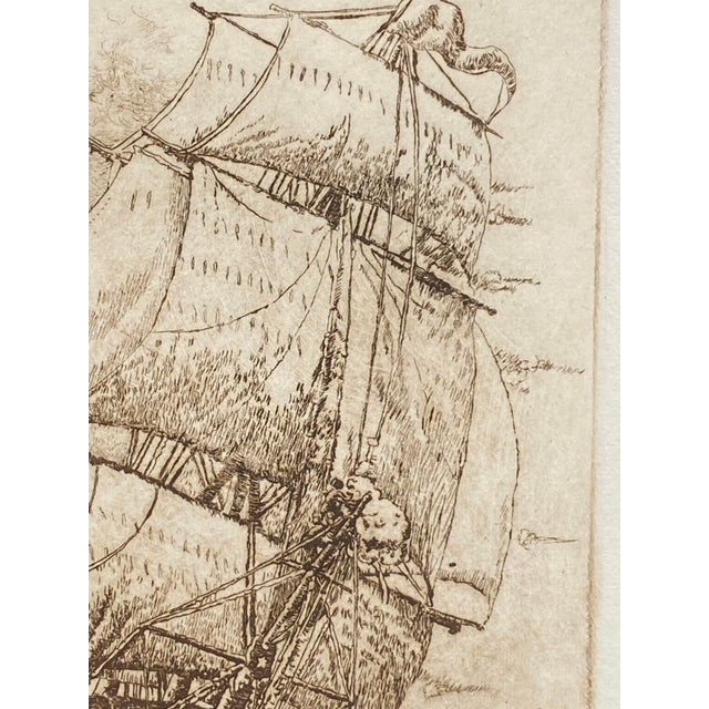 Etching Late 19th Century 'India Trader' Nautical Etching After Charles Martin Hardie, Framed For Sale - Image 7 of 9