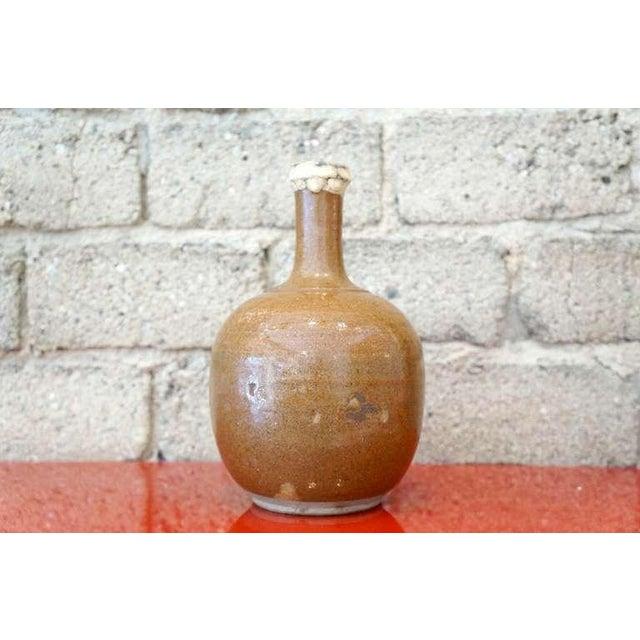 Large old japanese mingei folk tokkuri sake flask .. meiji-taisho period