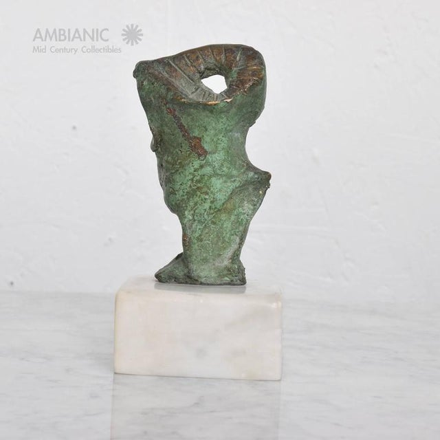 Brass Mid-Century Modern Abstract Bronze & Marble Sculpture For Sale - Image 7 of 8