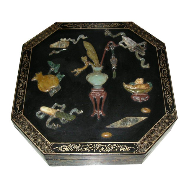 Antique Chinese Black Lacquer Hexagonal Box For Sale