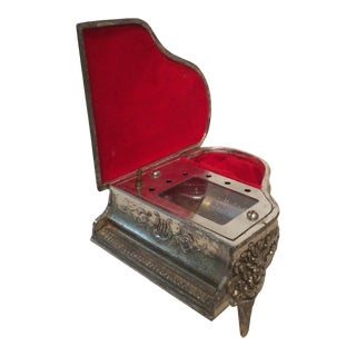 Vintage Filigree Grand Piano Music and Jewelry Box For Sale