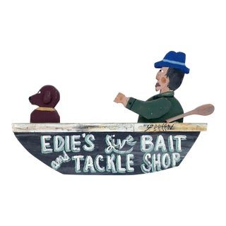 Bait & Tackle Wooden Boat Sign For Sale