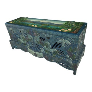 1980s Vintage Handpainted Carved Chinoiserie Trunk For Sale