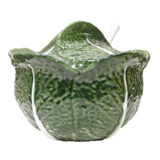 Majolica Cabbage Soup Tureen W/ Ladle For Sale