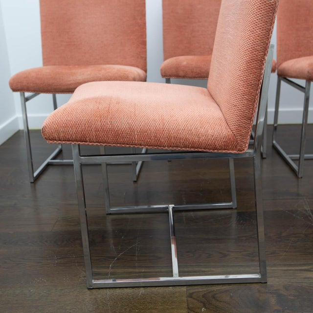 Late 20th Century Set of 4 Milo Baughman Style Dining Chairs For Sale - Image 5 of 10