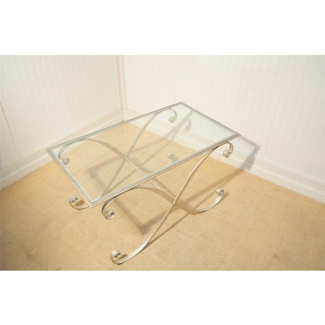 Vintage Hollywood Regency Neoclassical Silver Gilt Metal X Form Coffee Table For Sale - Image 9 of 10