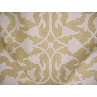 Kravet Couture Barbara Barry Poetical Spungold Print Upholstery Fabric- 11-7/8 Yards For Sale