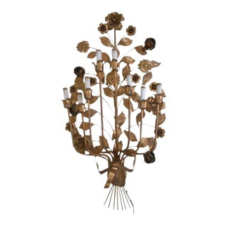 Italian Gilt Wall Sconce Lamp Sculpture For Sale